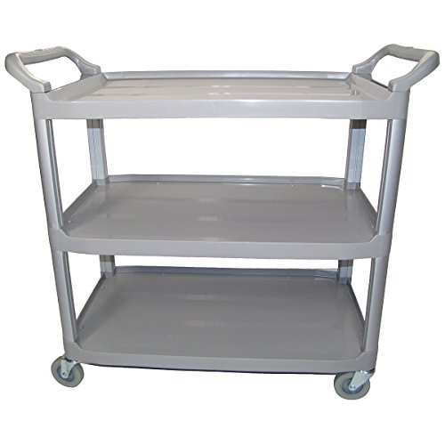 Crayata Serving and Bus Cart, Kitchen Food Service Utility Cart, 3 Tier Heavy Duty Plastic Beverage and Coffee Transport Cart for Restaurants, Gray by Crayata (Image #3)