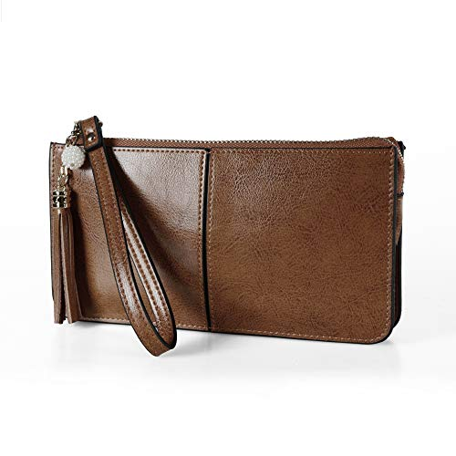 - Befen Soft Leather Phone Wristlet Wallet Clutch with Exquisite Tassels - Vintage Brown