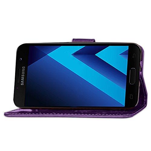 JIALUN-Personality teléfono shell Para Samsung Galaxy A5 2017 funda, Lucky Clover en relieve flor PU funda de cuero con cierre lateral de la caja de la hebilla con cordón y soporte y ranuras para tarj Purple
