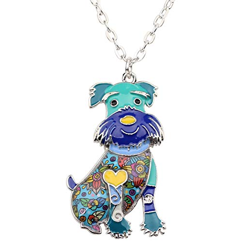 Bonsny Enamel Zinc Alloy Schnauzer Terrier Dog Necklace Chain Pendant Love Pets Jewelry for Women Girl Charm Gift (Blue)