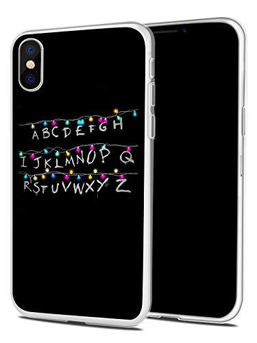 iPhone X Case, Unique Alphabet Design,JOYLAND Black Anti-Scratch Shock Proof Thin TPU Case For iPhone X,TV Image Letters ()