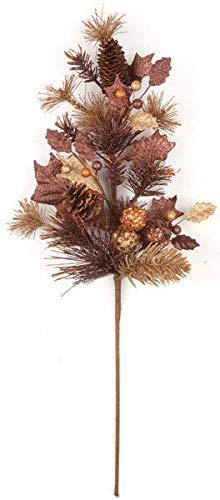 AUF001 31 Inch Glittered Pine/Ball/Pine Cone Spray - Copper/Brown Autograph Foliages