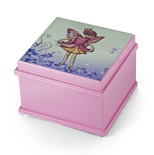 Matte Pink Enchanted Fairy 18 Note Ballerina Musical Jewelry Box - Over 400 Song Choices - You Pick The Song On The Wings of Love Swiss - Wings Enchanted Fairy