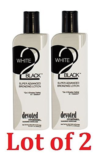 2 BOTTLES OF Devoted Creations White 2 Black Supre Advanced Bronzer Tanning Lotion