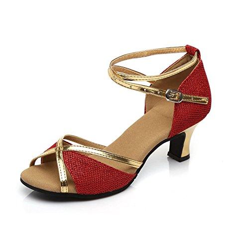 WYMNAME Womens Chaussures de Danse Latine,Talons Moyens Fond Mou Chaussures de Danse Sociale Chaussures de Danse Sandale Rouge