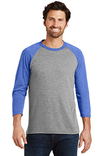 District Made Men's Perfect Tri 3/4-Sleeve Raglan DM136 Royal Frost/Grey Frost Large