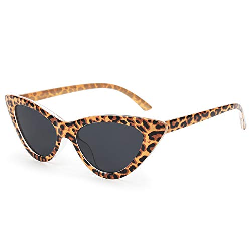 (Livhò Retro Vintage Narrow Cat Eye Sunglasses for Women Clout Goggles Plastic Frame (Leopard))