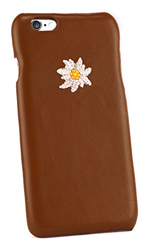 backcase Genuine leather case iPhone 6-s - brown Edelweiss Octoberfest edition - Edelweiss Button