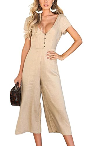 03f778ff254f ECOWISH Womens Button Jumpsuits Sexy Deep V Neck Short Sleeves High Waist  Wide Leg Jumpsuit Rompers with Pockets