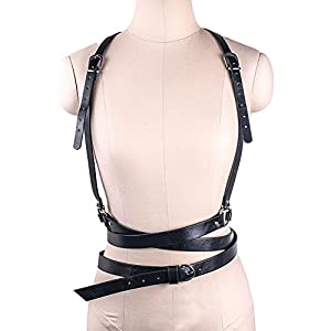 Wyenliz Women's Waist Belts Punk Harajuku Faux Leather Harness Straps Adjustable