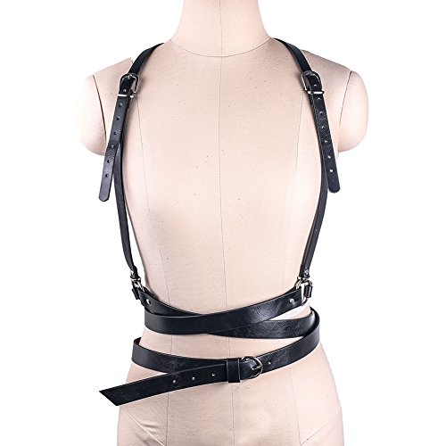 Wyenliz Women's Waist Belts Punk Harajuku Faux Leather Straps Adjustable (Leather Harness Belt)