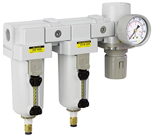- PneumaticPlus SAU4030M-N04DG-MEP Three Stage Air Drying System - Air Particulate Filter, 0.3 Micron Coalescing Filter & Air Pressure Regulator Modular Combo 1/2