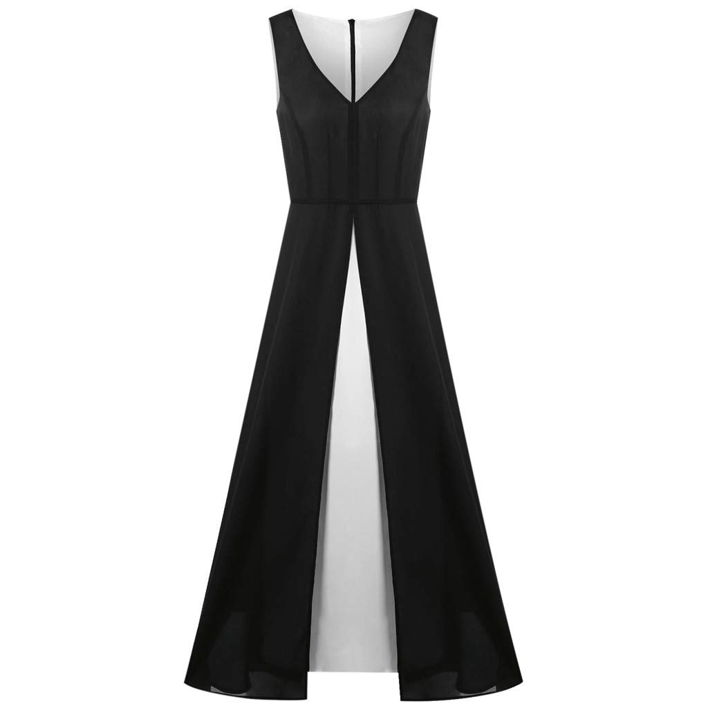 Gyouanime Plus Size Dress Womens V-Neck Sleeveless Black White Patchwork Long Maxi Dress Beachwear by Gyouanime Dress (Image #7)