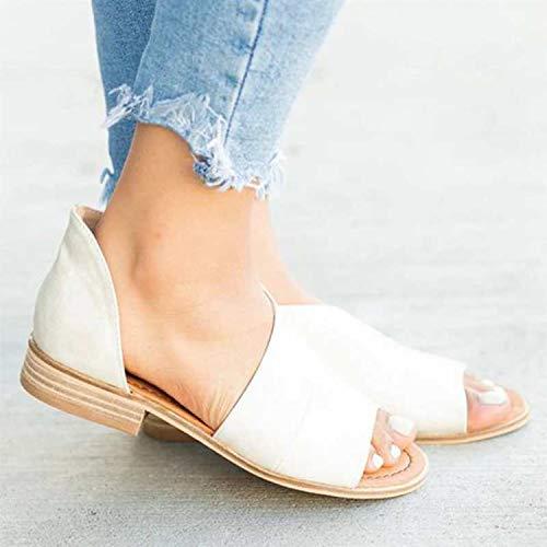 2019 Women Shoes Solid Low Heel Sandals Pointed Toe Slip Women's Sandals Single Sandalia Feminina,E,9 (Newcastle Counter)