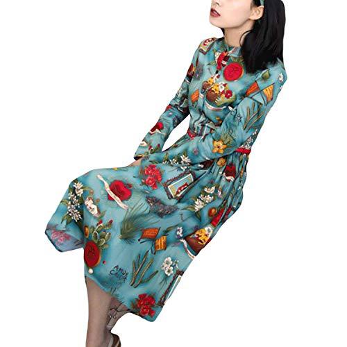 Altalena Con Vintage Floreale A Camicia Uebzsoonfwoe Green Maniche Motivo Lunghe IRxn0v