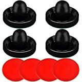 ONE250 Air Hockey Pushers and Red Air Hockey Pucks, Goal Handles Paddles Replacement Accessories for Game Tables (4 Striker, 4 Puck Pack)