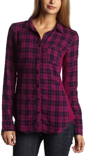 Splendid Women's Seattle Plaid Button Down Top,Azalea,X-Small