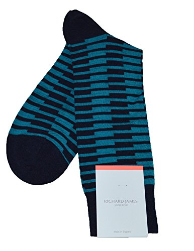 Richard James Merino Wool Stripe Socks (Large(US11-13), Navy)