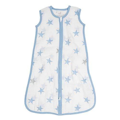 Aden by Aden + Anais Classic Sleeping Bag, 100% Cotton Muslin, Wearable Baby Blanket, Dapper, Stars, Small, 0-6 Months ()