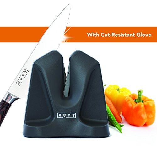 - KUTT Knife Sharpener Edge, Professional Chef Kitchen V Sharpener, Auto Adjust Technology, Compact for Easy Storage, Sharpens Hones Polishes Dull Chef Knives, Ergonomic Design, Cut Resistant Glov