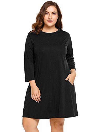 Cargo Pocket Dress (Womens Plus Size 3/4 Sleeve Round Neck Flowy A-Line Swing Tunic Dress - Ladies Loose Fit Pleated Midi Casual Shirt Dress w/ Pockets)