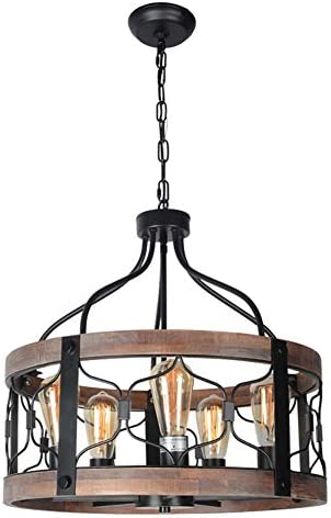 Beuhouz Round Farmhouse Rustic Chandelier Lighting