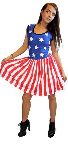 US USA Stars And Stripes Ärmelloses Kleid Raffung