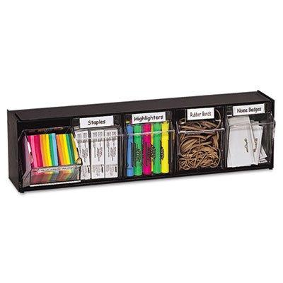 Tilt Bin Plastic Storage System w/5 Bins, 23 5/8 x 5 1/4 x 6 1/2, Black, Sold as 1 Each