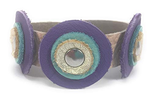 Soft Boho 6 inch Purple and Teal Leather Circles Bracelet
