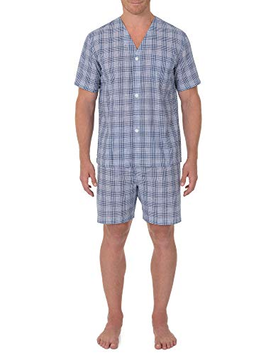 (Geoffrey Beene Men's Broadcloth Short Sleeve Knee-Length Pajama Set, Navy/White Check, Small )