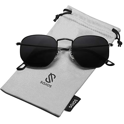 SOJOS Small Square Polarized Sunglasses for Men and Women Polygon Mirrored Lens SJ1072 with Black Frame/Grey Polarized Lens