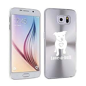 Samsung Galaxy S6 Edge Aluminum Plated Hard Back Case Cover Love-A-Bull Pitbull Love (Silver)