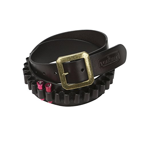 TOURBON Adjustable Leather Bandolier Pistol Cartridge Belt for 9mm/38SPL- Brown (Bandolier Belt)