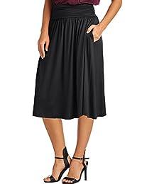 Women's Rayon Spandex High waist Shirring Flared Skirt...