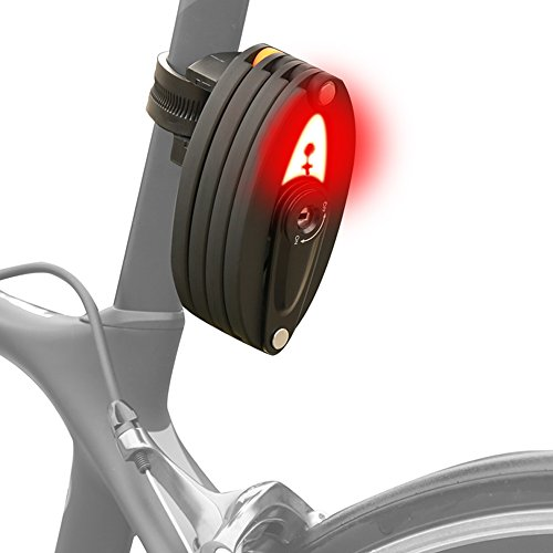 ADeroace Bike Lock-Foldable Anti-Theft Security Chain Bicycle Lock with taillight-USB Charging Anti-Hydraulic Lock Electric Motorcycle Mountain Bike Folding Cycle Lock Unfolds to 35
