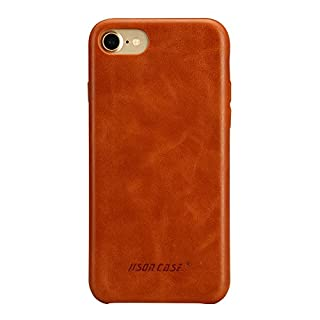 JISONCASE iPhone SE 2020 2nd Generation Case,iPhone 8 Leather Case iPhone 7 Case Slim Back Cover Snap Grip Case for Apple iPhone 7/ iPhone 8 4.7 inches, Brown (TC-IP8-01A20)
