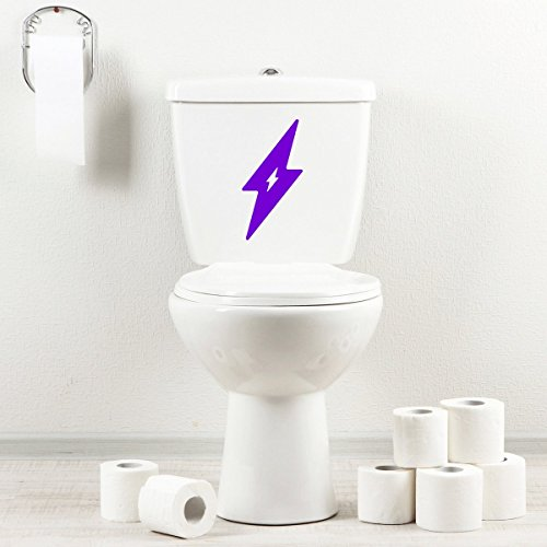 StickAny Bathroom Decal Series Lightning Bolt Sticker for Toilet Bowl, Bath, Seat (Purple)