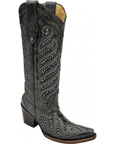 Corral Kvinna Crystal Inlägg Cowgirl Boot Klipp Tå - C2877 Svart