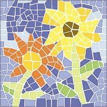 Mosaik Vorlagen Blumen 30 30x30cm 5 40