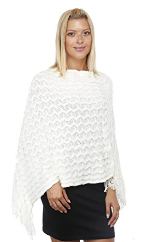 GILBIN'S Women's Wavy Knit With Sequins Poncho Cape Shawl (White)