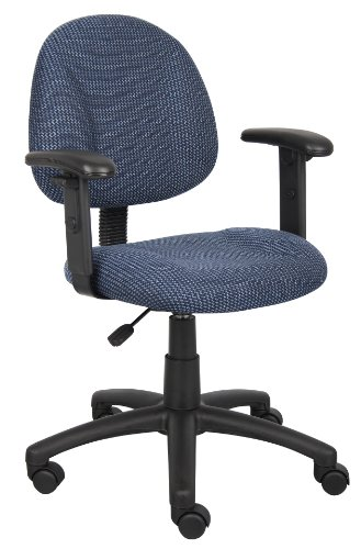 Boss Office Products B316-BE Perfect Posture Delux Fabric Task Chair with Adjustable Arms in Blue