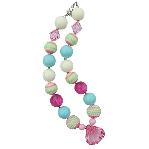 So Sydney Baby Toddler Girls Princess Chunky Bubblegum Beads Beaded Necklace (Pastel Princess Pink Gem) Princess Pink Bubble Gum