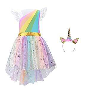 Girls Unicorn Costume Set Princess Rainbow Dress up for Party Supplies Outfits