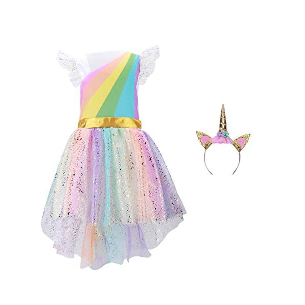 Girls Unicorn Costume Set Princess Rainbow Dress up for Party Supplies Outfits 3