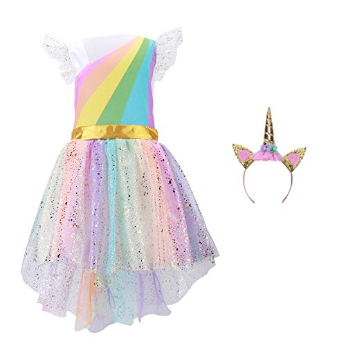 Girls Unicorn Costume Set Princess Rainbow Dress