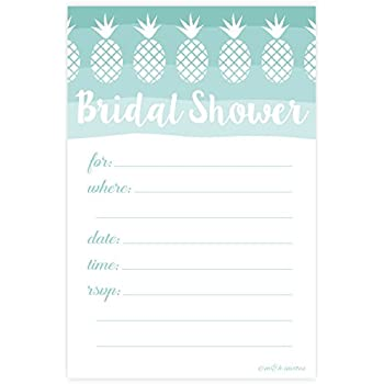 Amazon tropical pineapple bridal shower invitations fill in tropical pineapple bridal shower invitations fill in style 20 count with envelopes filmwisefo