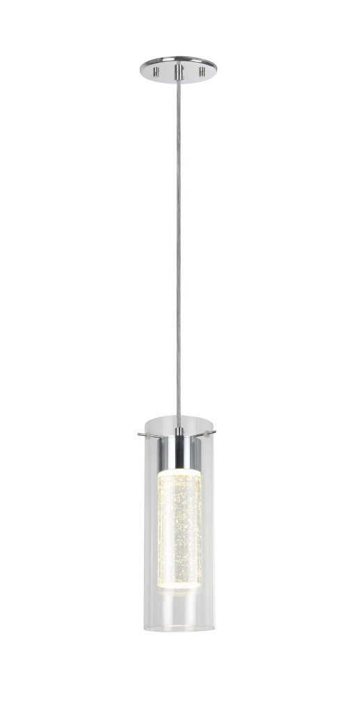 Aspen Creative 61019 Adjustable LED 1 Light Hanging Mini Pendant Ceiling Light, Contemporary Design in Chrome Finish, Clear Glass Shade, 4 3/4'' Wide
