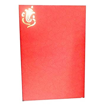 Vcc Ganesha Design Hindu Marriage Invitation Card In Red