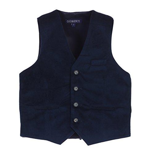 Gioberti Big Boys Velvet Formal Suit Vest, Navy,