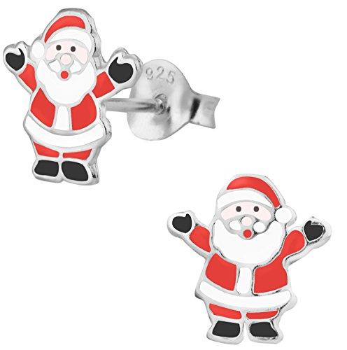 925-Sterling-Silver-Santa-Clause-Christmas-Stud-Earrings-For-Children-Nickel-Free-Hypoallergenic